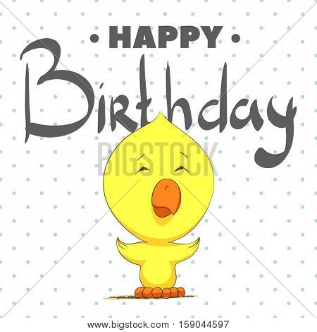 Cute chick wishes a happy birthday. Drawn on a white background in peas