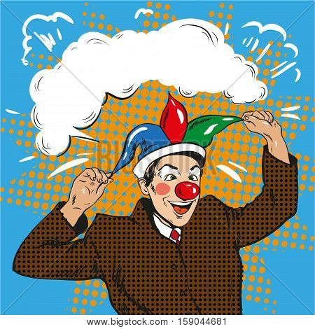 Vector illustration of businessman clown in jester hat in retro pop art comic style. Crazy man making people laugh, in frame. Speech bubble.