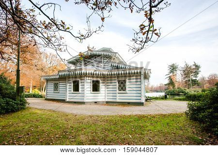 This photo was made in the palatial Park near Apeldoorn in the Netherlands. This is a architectural tea house-which was used by three generations of queens. Netherlands