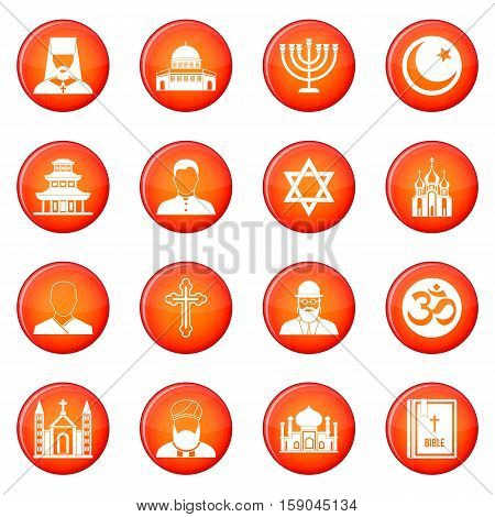 Religion icons vector set of red circles isolated on white background