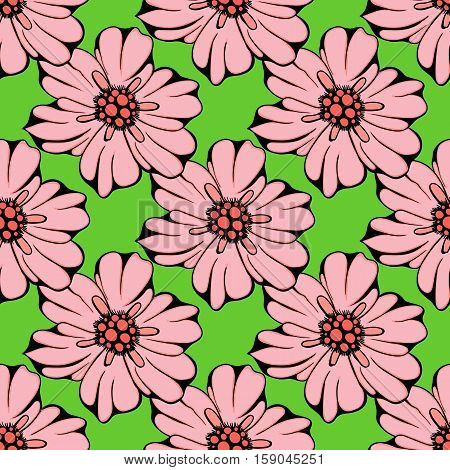 Vector seamless pattern of hand drawn colorful flowers and leaf branch. illustration isolated on green. Magic beautiful camomiles. Hand sketched doodle for coloring books, your design, web, package