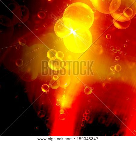 Beer bubbles on a bright gold background, abstract