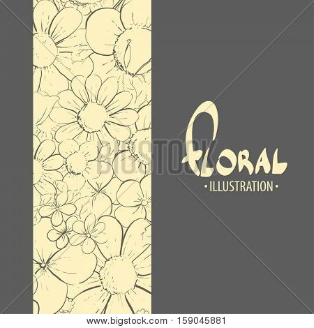 floral illustration on the black background of delicate flowers
