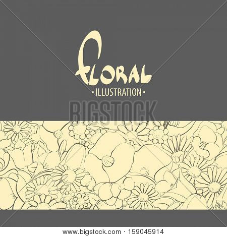 Inspiring background of various flowers with a place for your inscription