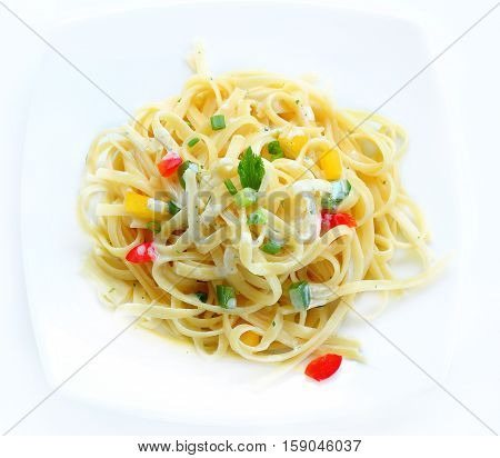 Pasta Carbonara with vegetarian food for healty.