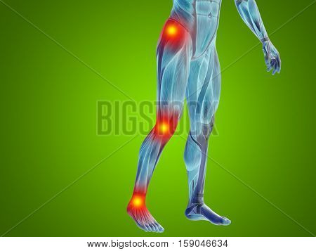 Conceptual 3D illustration of human man anatomy lower body or health design, joint or articular pain, ache or injury on green background