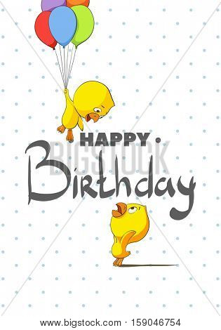 Funky Chickens Happy birthday. Chickens happy holiday and fly on balloons