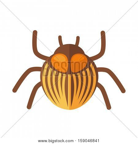 potato bug. Icon of bright small insect with antenna. Cartoon vector illustration in flat style isolated on white background.