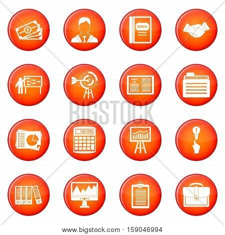 Business plan icons vector set of red circles isolated on white background