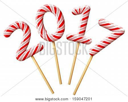 New Year 2017 in shape of candy on wooden stick. Year number of striped peppermint lollipops. Vector illustration for christmas new years day sweet-stuff winter holiday dessert new years eve etc