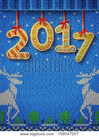 New Year 2017 in shape of gingerbread against knitted background. Year number like cookies on ribbon. Vector illustration for christmas new years day cooking winter holiday food silvester etc
