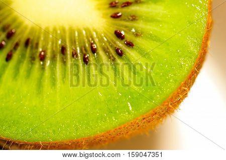 Slices of kiwi fruit on white background