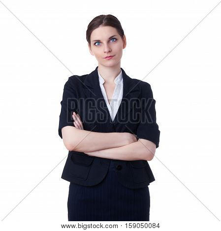 Smiling businesswoman standing over white isolated background, business, education, office concept