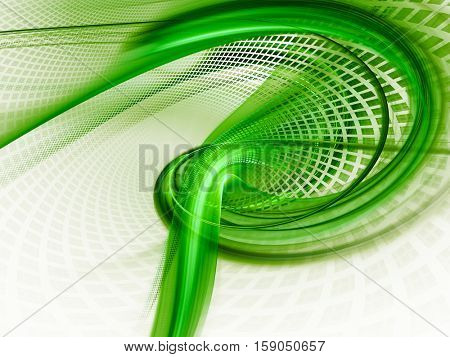Abstract background element. Three-dimensional composition of twisted shapes, grids and blurs.Science and technology concept. Green and white colors.