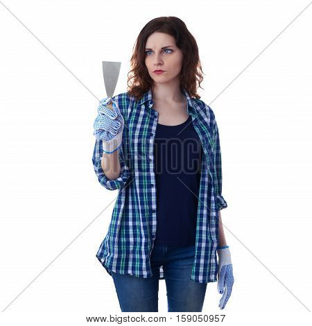 Young woman in casual clothes over white isolated background holding putty knife, happy people and construction concept