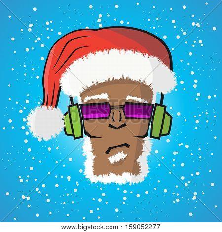 Disc Jockey Santa Claus In A Hat And A Headphone