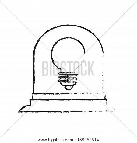Robot with light bulb icon. Robotic technology machine cyborg and science theme. Isolated design. Vector illustration