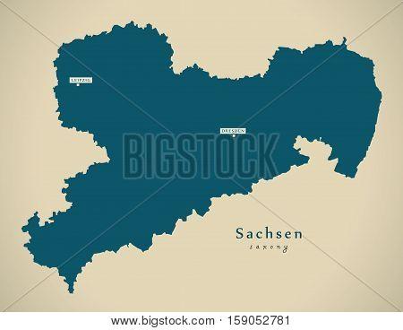 Modern Map - Sachsen DE Germany illustration