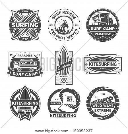 Surfing camp vintage isolated label set vector illustration. Kitesurfing school symbol. Wild wave icon. Surf riders logo. Extreme and fun water recreation. Surfboard, kite, van, surfer sign.