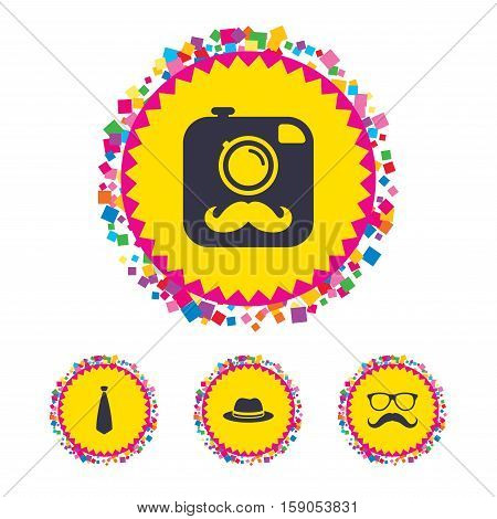 Web buttons with confetti pieces. Hipster photo camera with mustache icon. Glasses and tie symbols. Classic hat headdress sign. Bright stylish design. Vector