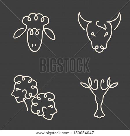 One Line Zodiac Symbols Set - Aries, Taurus, Gemini, Cancer