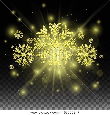 Golden snowflakes and abstract background. Trendy gold and black background. Stock vector.