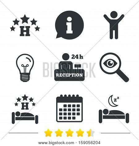 Five stars hotel icons. Travel rest place symbols. Human sleep in bed sign. Hotel 24 hours registration or reception. Information, light bulb and calendar icons. Investigate magnifier. Vector