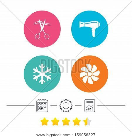Hotel services icons. Air conditioning, Hairdryer and Ventilation in room signs. Climate control. Hairdresser or barbershop symbol. Calendar, cogwheel and report linear icons. Star vote ranking
