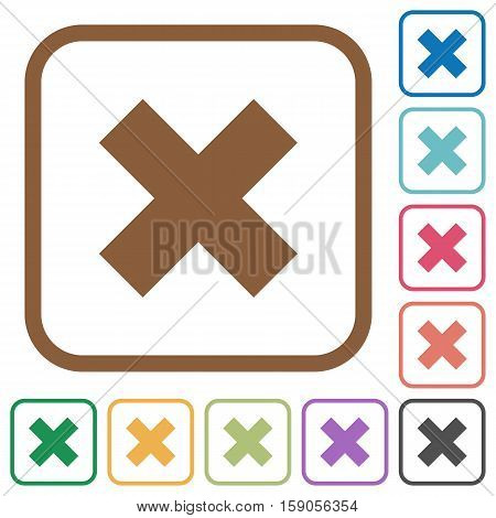 Cancel simple icons in color rounded square frames on white background