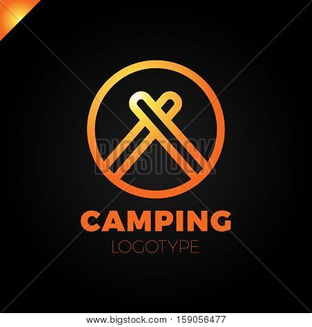 Barrier Tourist Tent Icon. Camping Travel Logo. Tent In Circle Logotype