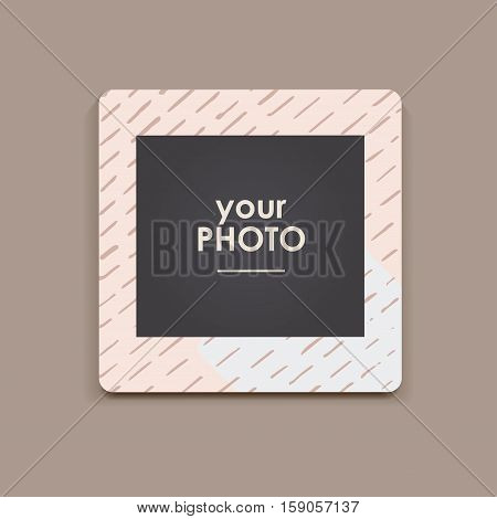 Photo frame Album template for kid, baby, family or memories. Scrapbook concept, vector illustration.