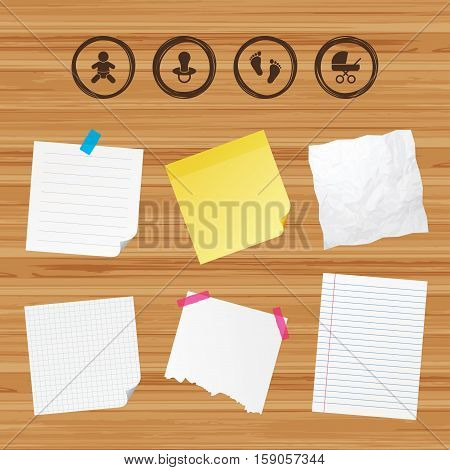 Business paper banners with notes. Baby infants icons. Toddler boy with diapers symbol. Buggy and dummy signs. Child pacifier and pram stroller. Child footprint step sign. Sticky colorful tape. Vector