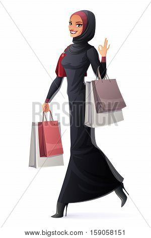 Beautiful young smiling Muslim Arab woman in abaya and hijab walking with shopping bags and showing OK sign hand gesture. Cartoon style vector illustration isolated on white background.