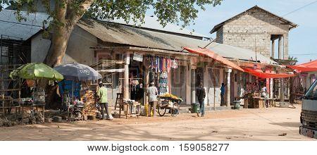 ZANZIBAR, TANZANIYA- JULY 16: simple market street with people in Stone townon July 16, 2016 in Zanzibar