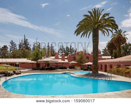 AREQUIPA PERU - NOVEMBER 27 2016: Beautiful Luxury Outdoor Swimming Pool in Hotel Resort in Arequipa Peru.