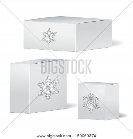 set of cardboard package. isolated box on the grey background. mock up template. stock vector