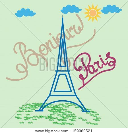 Eifel tower sign with quote Bonjour Paris. Color isolated silhouette. Eiffel Tower as symbol of Paris and love. Template for t shirt apparel card poster. Design element. Vector illustration