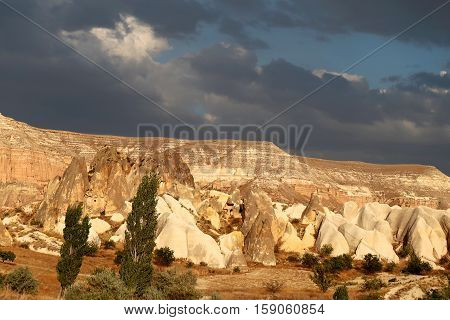 Excellent photo Mountains from tuff in Cappadocia in Turkey