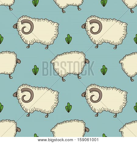 simple vector seamless pattern with sheep and ram on a blue background