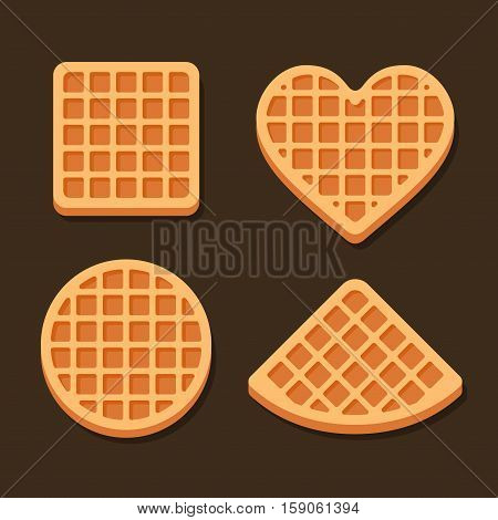 Belgium Waffles Icon Set on Dark Background. Vector illustration