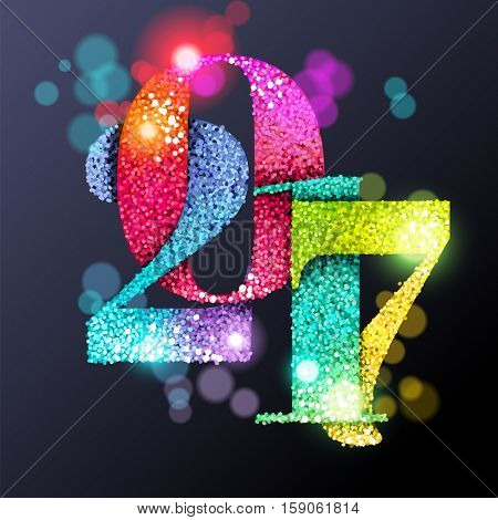 2017with glitter and light effects, greeting card, eps10 vector