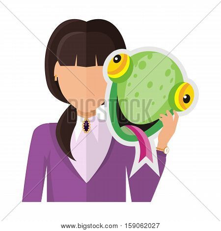 Brunet woman character in violet blouse with chameleon mask in hand vector. Flat design. Masquerade animal clothing and party costume. Psychological portrait and hidden personality. On white