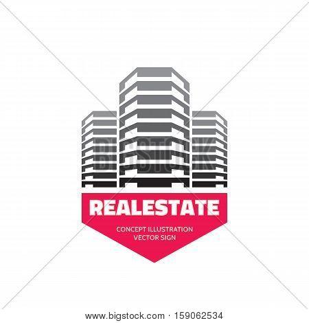 Real Estate - vector business logo template concept design. Modern buildings sign illustration. Abstract construction design element.