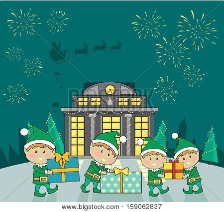 Winter holidays shopping concept vector. Flat design. Funny fairy elves packing presents in colored boxes near mall building, fireworks and Santa s sleigh in sky. Christmas and New Year celebrating