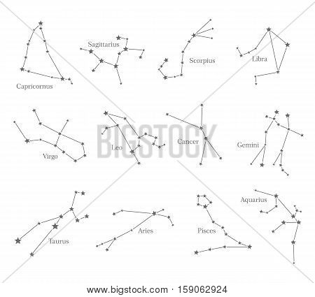 Zodiac astrological sign symbols isolated on white background. Horoscope set Leo, Virgo, Scorpio, Libra, Aquarius, Sagittarius, Pisces, Capricorn, Taurus Aries Gemini Cancer Vector illustration