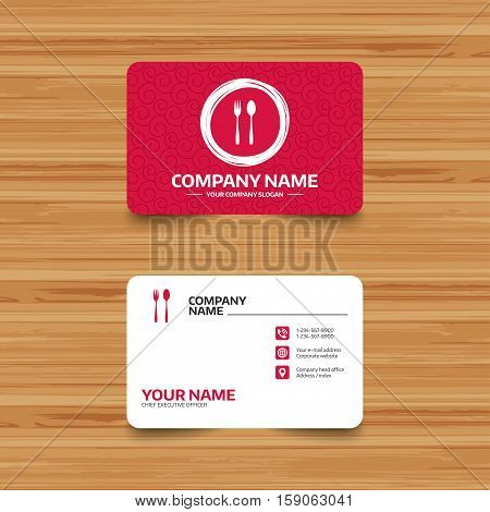 Business card template with texture. Eat sign icon. Cutlery symbol. Dessert fork and teaspoon. Phone, web and location icons. Visiting card  Vector