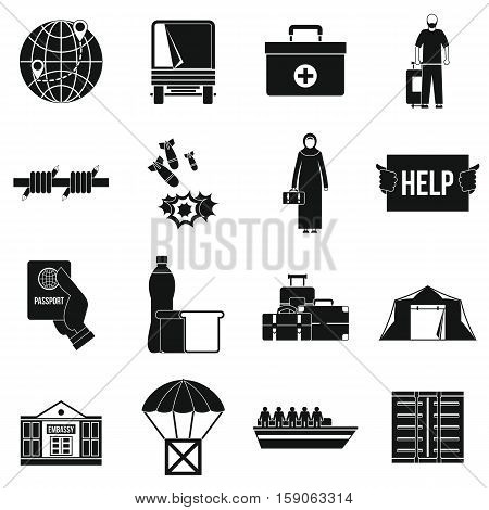 Refugees problem icons set. Simple illustration of 16 refugees problem vector icons for web