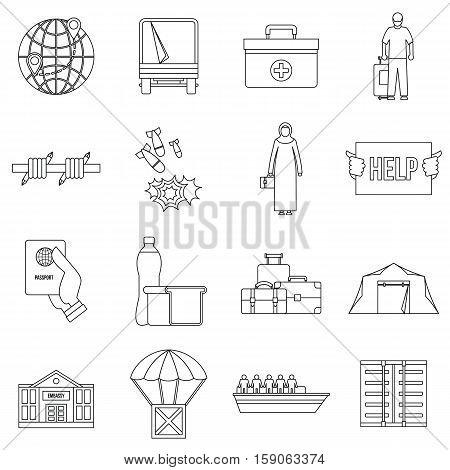 Refugees problem icons set. Outline illustration of 16 refugees problem vector icons for web
