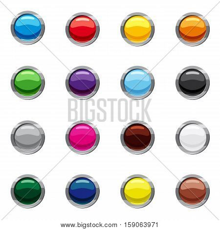 Blank round web buttons icons set. Cartoon illustration of 16 blank round buttons vector icons for web