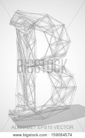 Abstract illustration of a Pencil sketched uppercase letter B with Transparent Shadow. Hand drawn 3D B for your design. EPS 10 vector illustration.